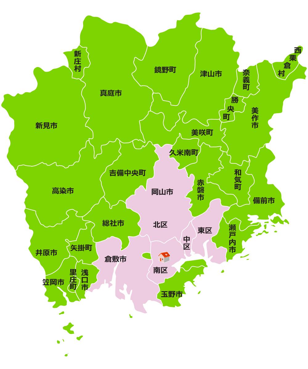 ダスキン播磨 岡山地図